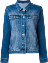 Simonetta Ravizza back patch denim jacket - women - Cotton/Suede - XS