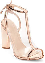 Wild Diva Rose Gold Mono PVC Peep Toe Booties
