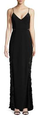 Betsy & Adam Lace Insert Evening Gown