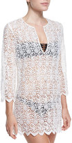 Miguelina Darcie Floral-Crochet Tunic Coverup