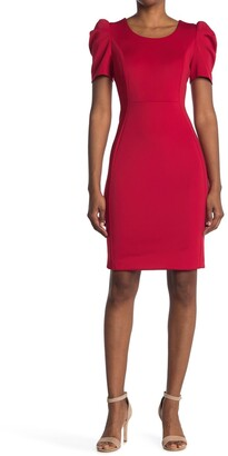 Calvin Klein Puffed Sleeve Sheath Dress