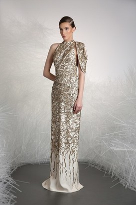 Tony Ward Embellished High Neck Evening Gown