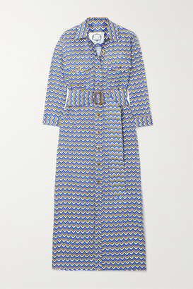 Evi Grintela Riad Belted Printed Linen Midi Dress - Blue