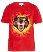 Gucci Angry Cat-appliqué Cotton T-shirt