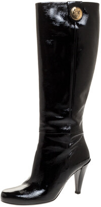Gucci Black Patent Leather Hysteria Knee Length Boots Size 37.5