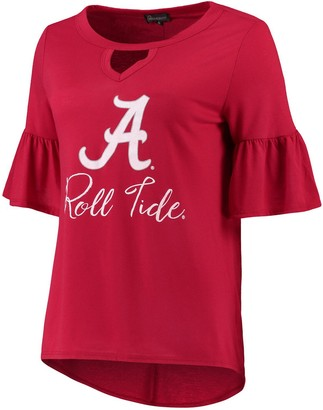 Unbranded Women's Crimson Alabama Crimson Tide Ruffle And Ready Keyhole Tri-Blend 3/4-Sleeve T-Shirt