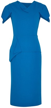 Roland Mouret Vernon blue wool-crepe midi dress