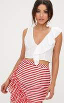 PrettyLittleThing White Frill Shoulder Crop Top