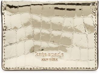 Kate Spade Sylvia Croc Embossed Leather Card Holder