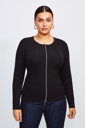 Karen Millen Curve Knitted Rib Zip Through Cardigan