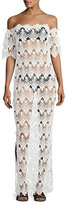 Queen & Pawn Flora Scalloped Lace Off-the-Shoulder Maxi Coverup Dress, White