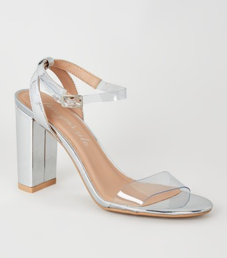 New Look Clear Strap Open Toe Block Heels