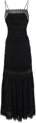 Charo Ruiz Ibiza Grace Gathered Crocheted Lace And Cotton-blend Voile Maxi Dress