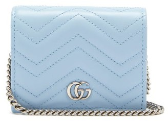 Gucci GG Marmont Chain-strap Leather Wallet - Light Blue