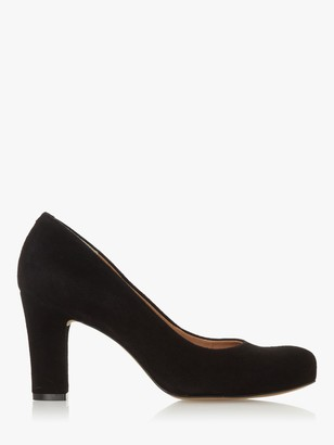 Dune Ashen Suede Comfort Block Heel Court Shoes