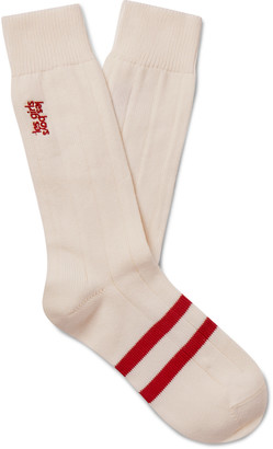 Les Girls Les Boys Logo-Embroidered Striped Cotton-Blend Socks - Men - Red