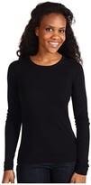 Three Dots 100% Cotton Heritage Knit Long Sleeve Crewneck (Black) Women's Clothing