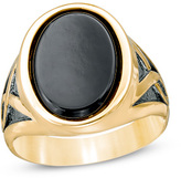 Zales Men's Oval Onyx Signet Ring in 10K Gold