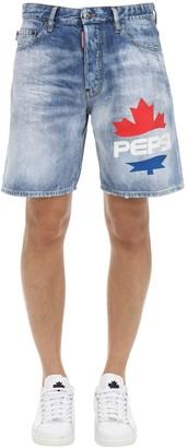Dsquared2 X Pepsi Printed Boxer Cotton Denim Shorts