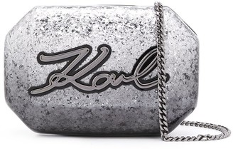 Karl Lagerfeld Paris K Signature glitter clutch