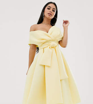 Asos Fallen Shoulder midi Prom Dress with Tie Detail-Yellow