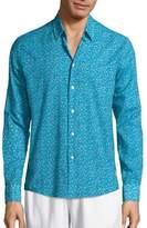 Vilebrequin Micro Turtle Cotton Voile Button-Down Shirt