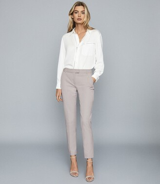 Reiss Joanne - Cropped Tailored Trousers in Grey