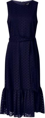 Wallis Navy Embroidery Lace Midi Dress