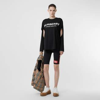 Burberry Long-sleeve Logo Print Cotton Oversized Top