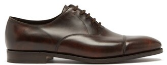 John Lobb City Ii Leather Oxford Shoes - Mens - Dark Brown