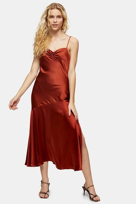 Topshop Rust Ruched Bias Satin Slip Dress