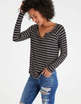 American Eagle Outfitters AE Soft & Sexy Long-Sleeve Henley T-Shirt