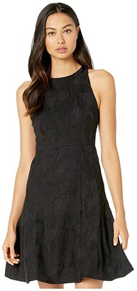 Halston Sleeveless High Neck Tulip Skirt Jacquard Dress (Black) Women's Dress