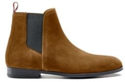 HUGO BOSS Suede Chelsea Boots With Contrast Elastic Side Panels - Brown