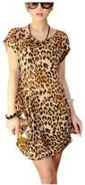 ARJOSA Women's Summer Sundress Short Sleeve Causal Mini Dress Blouse (S / M, Leopard Prints GOLD)
