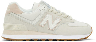New Balance Off-White and Pink 574 Sneakers