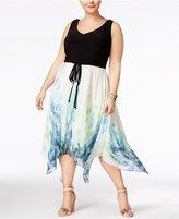 SL Fashions Plus Size Handkerchief-Hem A-Line Dress