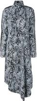 Proenza Schouler Zebra Print Long Sleeve Scarf Dress