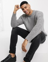Polo Ralph Lauren cotton cable crew neck sweater in gray marl