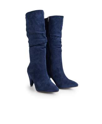 Xti Suedette Slouchy Calf Boots Colour: NAVY, Size: UK 3