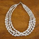 Hand Made Bridal Pearl Strand Necklace, 'Sweet and White'