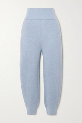 Stella McCartney Ribbed Cashmere And Wool-blend Tapered Pants - Blue