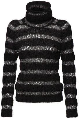 Saint Laurent Sequin Striped Mohair Blend Knit Sweater