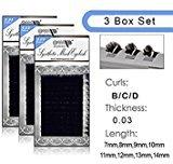 MOP 3 BOX SET /Semi Permanent Individual Eyelash Extension Mink Silk 3D 6D 9D Volume B/C/D Curl .03 thickness ( 8mm-14mm) /12 Rows/tray (C/9mm+11mm+13mm)