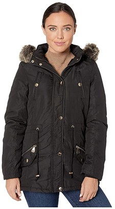 YMI Jeanswear Snobbish Faux Fur Lined Parka with Faux Fur Trim Hood (Black) Women's Clothing