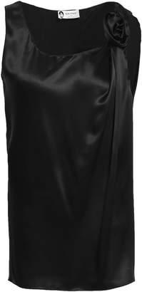 Lanvin Floral-appliqued Silk-satin Top