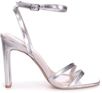 Linzi SWEETHEART - Silver Metallic Slim Heeled Sandal With Double Front Strap