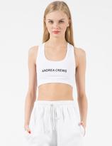 Andrea Crews White AC Printed Sport Bra