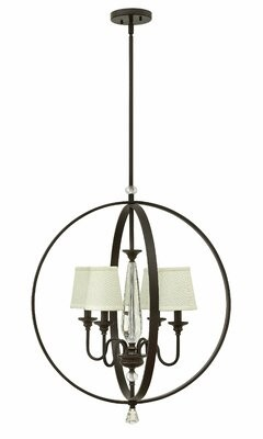 Waverly Hinkley Lighting 4 - Light Shaded Globe Chandelier with Crystal Accents Hinkley Lighting
