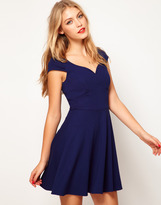 Asos Skater Dress With Wide Waistband